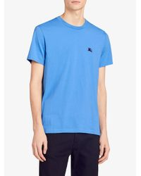 Burberry - Blue Embroidered Logo T-shirt for Men - Lyst