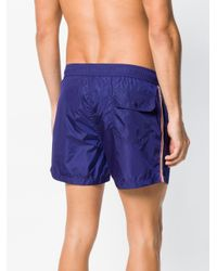 Moncler Blue Tri-stripe Swimming Trunks for men