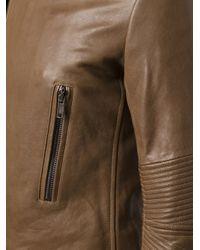 Haider Ackermann Brown Ribbed Sleeve Biker Jacket for men