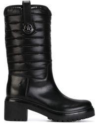 Moncler Black Naomi Leather Mid-Calf Boots
