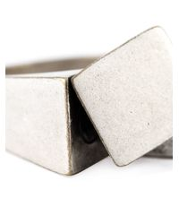 Maison Margiela Metallic Asymmetric Signet Ring for men
