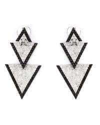 Elise Dray | Metallic Drop Triangle Diamond Earrings | Lyst