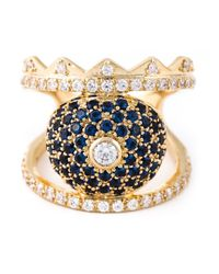KENZO | Blue Crystal Embellished Ring | Lyst