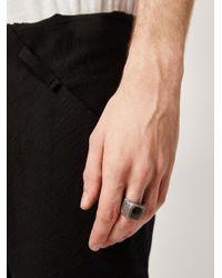 Tobias Wistisen Metallic 'leather Stone' Ring for men