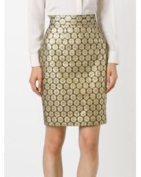 Moschino - Metallic Jacquard Floral Skirt - Lyst
