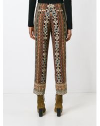 Etro - Brown Paisley Print Cropped Trousers - Lyst