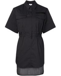 KOONHOR | Black Mesh Hem Shirt Dress | Lyst
