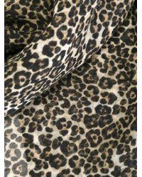 Saint Laurent Black Leopard Print Scarf