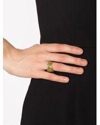 Marc Alary - Metallic Diamond Leaf Ring - Lyst