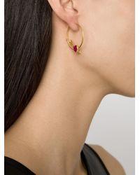Marie-hélène De Taillac Metallic Cupid's Arrow Ruby Heart Hoop Earrings