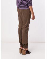 Haider Ackermann - Brown - Gathered Ankle Track Pants - Women - Cotton/spandex/elastane/rayon - M - Lyst