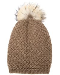 Inverni - Brown - Racoon Fur Pompom Beanie - Women - Cashmere/racoon Fur/merino - One Size - Lyst