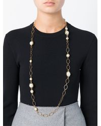 Tory Burch - Metallic Pearl Chain Necklace - Lyst