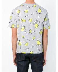 AMI Gray Lemon Print T-shirt for men