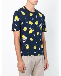 AMI Blue Lemon Print T-shirt for men