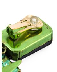 Iosselliani - Green 'full Metal Jewels' Clip-on Earrings - Lyst