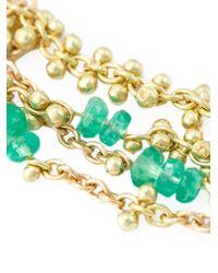 Natasha Collis - Metallic 'waterfall Emerald Pin' Earrings - Lyst