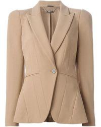 Alexander McQueen - Natural Pleated Wool-Blend Blazer  - Lyst