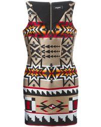 DSquared² - Black - Print Dress - Women - Silk/polyester/viscose - 40 - Lyst