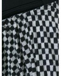 Haider Ackermann Black Asymmetric Checked Midi Skirt