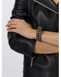 DIESEL Black Eyelet Embellished Bracelet