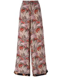 Valentino | Red Floral Wide Leg Trousers | Lyst
