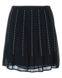 MICHAEL Michael Kors - Black Stud Detail Pleated Skirt - Lyst