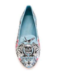 Alexander McQueen | Blue Embroidered Ballerinas | Lyst