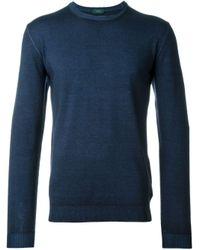 Zanone | Blue Round Neck Fine Knit Sweater for Men | Lyst