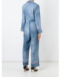 Fendi - Blue Denim Belted Jumpsuit - Lyst