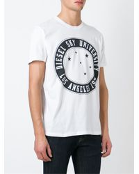 DIESEL | White Print T-shirt for Men | Lyst