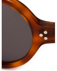 Lesca - Brown Round Frame Sunglasses - Lyst