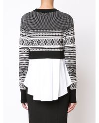 Veronica Beard | White Mixed-media Pleat Back Sweater | Lyst