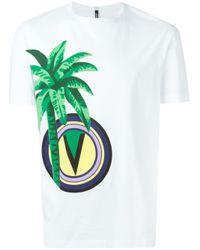 Versus White Palm Tree Logo Print T-shirt for men