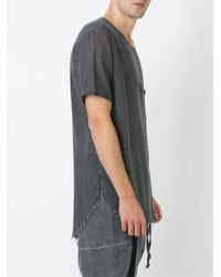 Lost and Found Rooms Black Frayed Sheer T-shirt for men