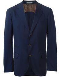 Brunello Cucinelli | Blue Three Button Blazer for Men | Lyst