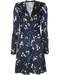 Issa Blue Printed Wrap Dress