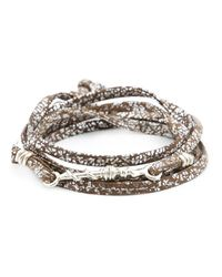 1-100 - Brown Twisted Wire Bead Wrap Bracelet - Lyst