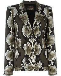 Roberto Cavalli | Black Metallic Brocade Cropped Jacket | Lyst
