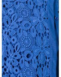 Alberta Ferretti - Blue Guipure Lace Cardigan - Lyst