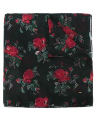 Saint Laurent - Black Rose Print Scarf - Lyst