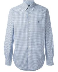 Ralph Lauren | Blue Slim Fit Checked Poplin Shirt for Men | Lyst