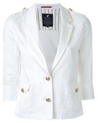 Loveless White Half Sleeve Buttoned Jacket