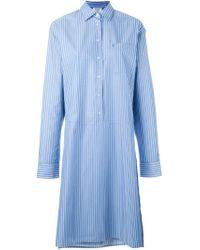 Vetements - Blue Striped Asymmetric Shirt Dress - Lyst