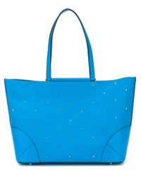 MCM Blue Medium 'claudia Studs' Shopper Tote