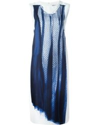 DKNY - Blue Embroidered Tulle Shift Dress - Lyst