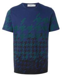 Pringle of Scotland Blue Houndstooth Print T-shirt for men