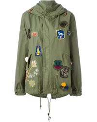 Mr & Mrs Italy Green Patched Hooded Jacket