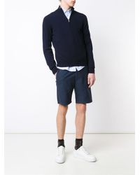 Brunello Cucinelli Blue Cashmere Half Zip Sweater for men