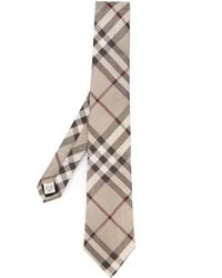 Burberry - Brown Checked Tie for Men - Lyst